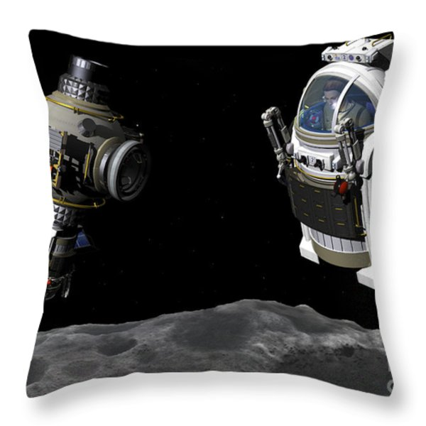 A Manned Maneuvering Vehicle Prepares Throw Pillow by Walter Myers