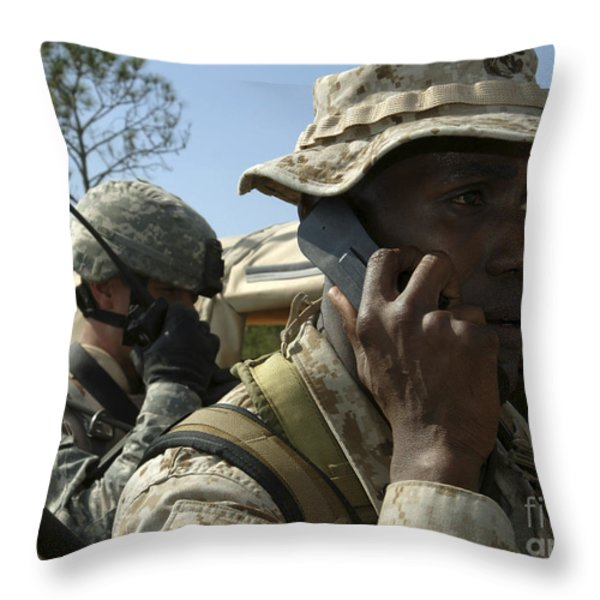 A Marine Communicates With Aircraft Throw Pillow by Stocktrek Images