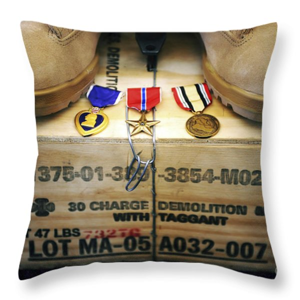 A Memorial Dedicated To An Airman Who Throw Pillow by Stocktrek Images