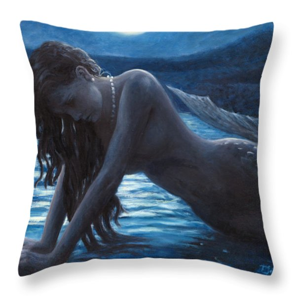 A Mermaid In The Moonlight - Love Is Mystery Throw Pillow by Marco Busoni