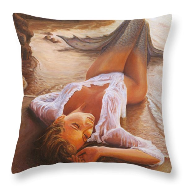 a mermaid in the sunset - love is seduction Throw Pillow by Marco Busoni
