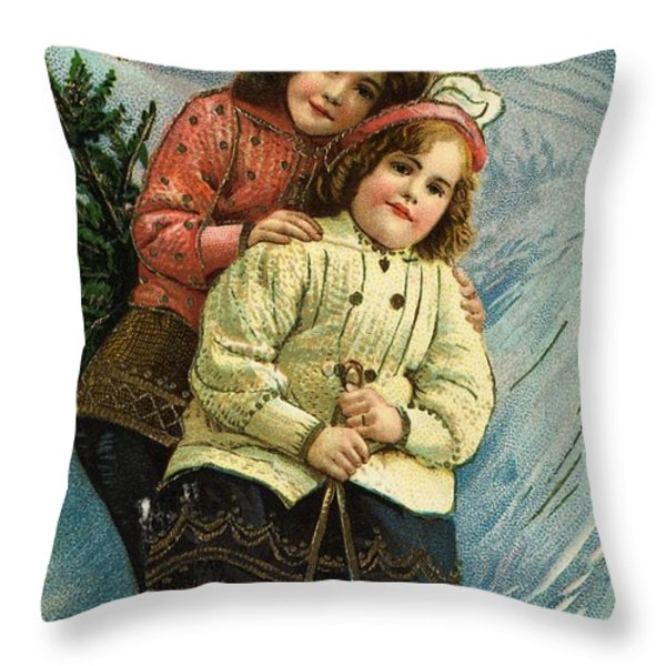 A Merry Christmas Postcard With Sledding Girls Throw Pillow by American School