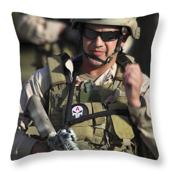 A Military Reserve Navy Seal Gives Throw Pillow by Michael Wood