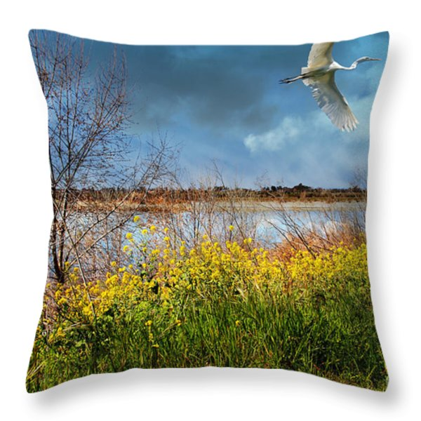 A Moment In Time In The Journey Of The Great White Egret . 7d12643 Throw Pillow by Wingsdomain Art and Photography