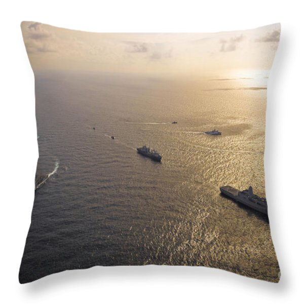A Multi-national Naval Force Navigates Throw Pillow by Stocktrek Images