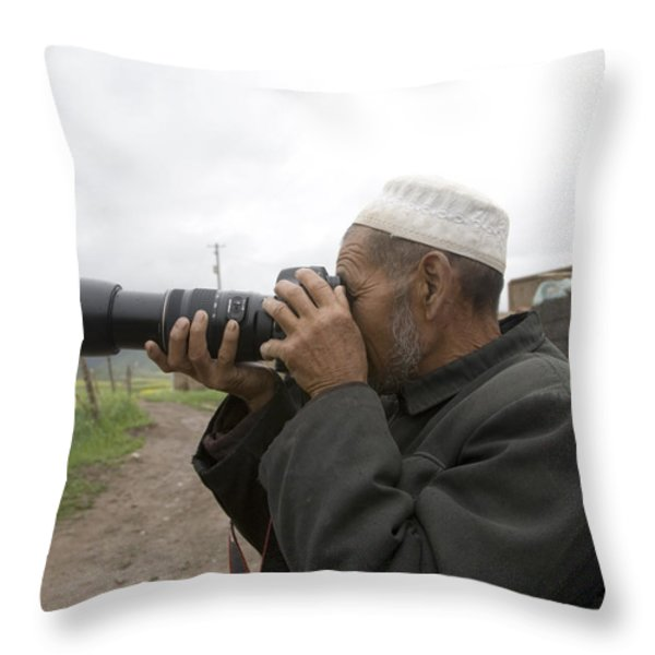 A Muslim Rural Resident Looks Throw Pillow by David Evans