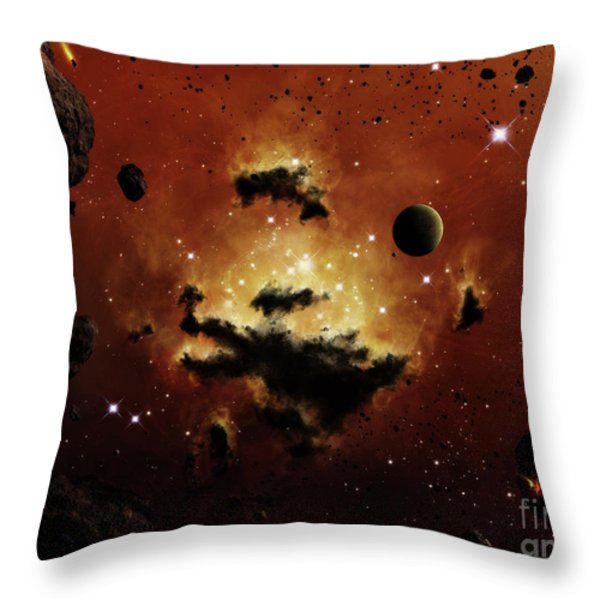A Nebula Evaporates In The Far Distance Throw Pillow by Brian Christensen