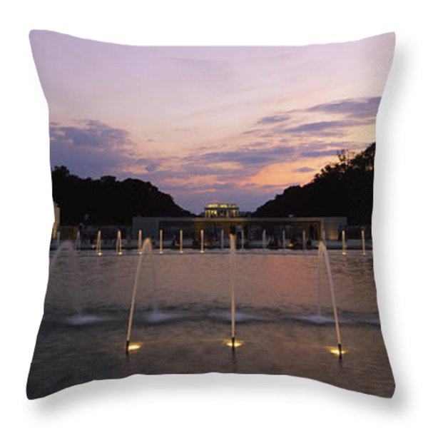 A Night View Of Memorial Plaza Throw Pillow by Richard Nowitz