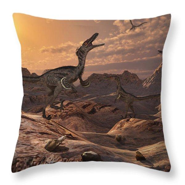 A Pack Of Carnivorous Velociraptors Throw Pillow by Mark Stevenson