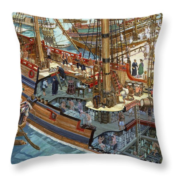A Painting Showing Merchandise Throw Pillow by Roger Morris