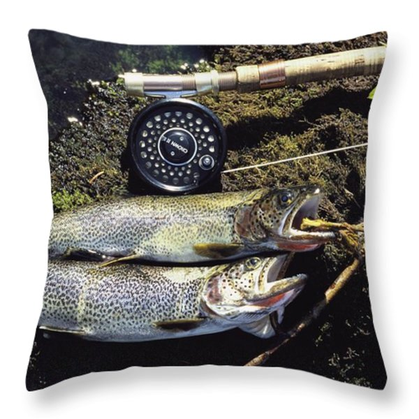 A Pair Of Cutthroat Trout, Salmo Throw Pillow by Bill Curtsinger