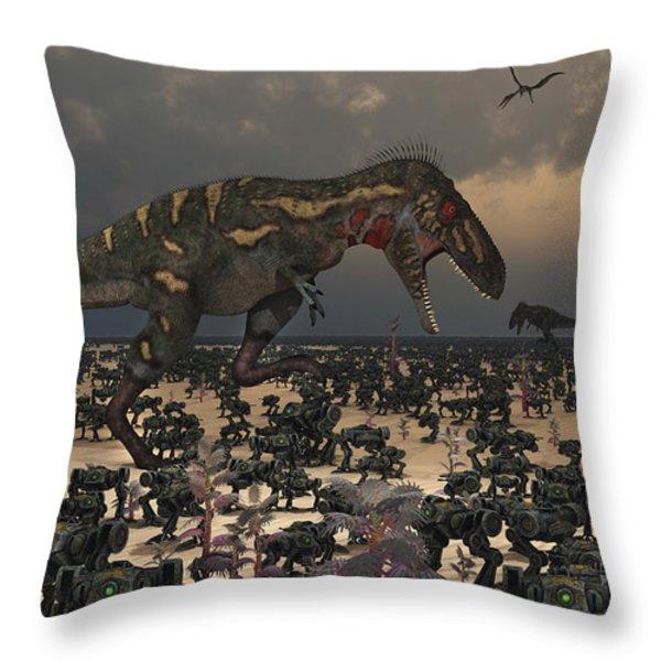 A Pair Of Nanotyrannus Amongst An Throw Pillow by Mark Stevenson