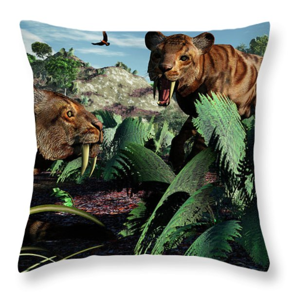 A Pair Of Sabre-toothed Tigers Throw Pillow by Mark Stevenson