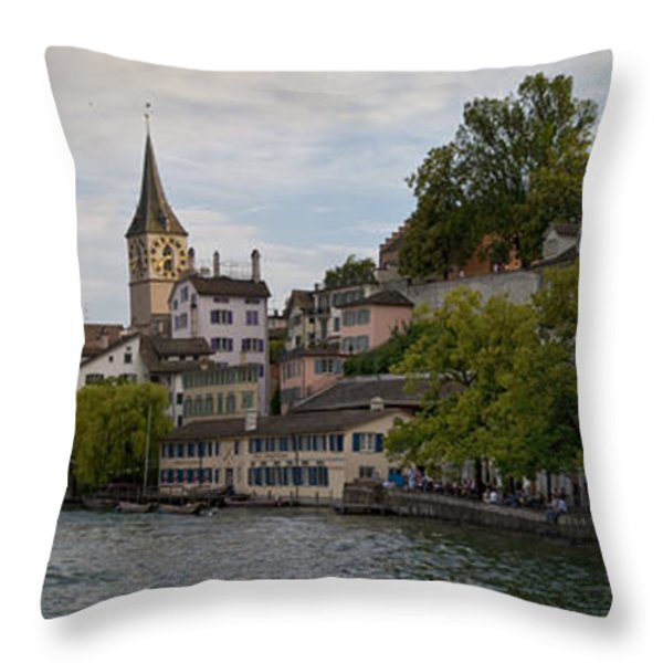 A Panorama View Of Zurich Throw Pillow by Greg Dale