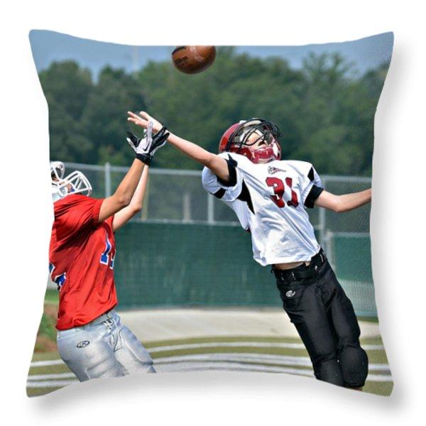 A Pass For The Touchdown Throw Pillow by Susan Leggett