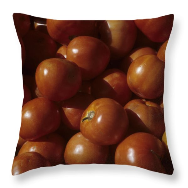A Pile Of Tomatoes Stand Waiting Throw Pillow by Taylor S. Kennedy