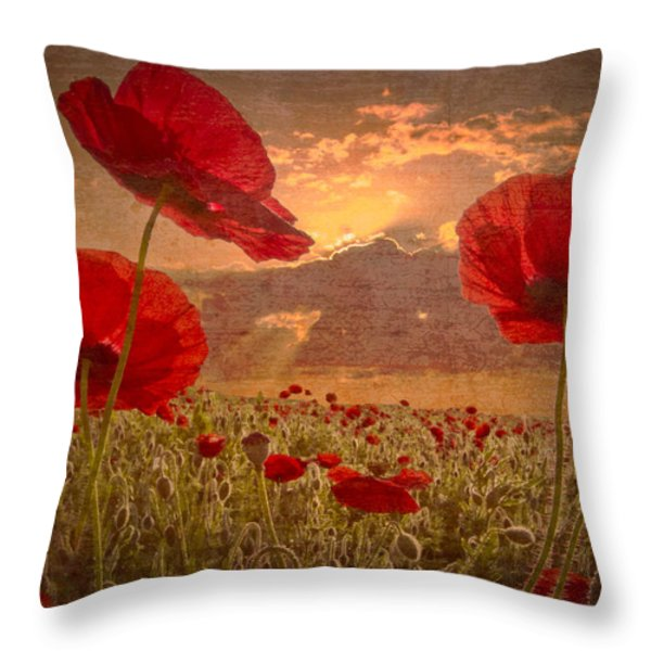 A Poppy Kind of Morning Throw Pillow by Debra and Dave Vanderlaan