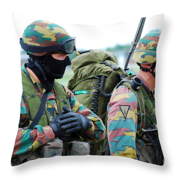 A Radio Operator And Members Throw Pillow by Luc De Jaeger