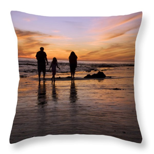 A Rear View Of A Family With One Child Throw Pillow by James Forte
