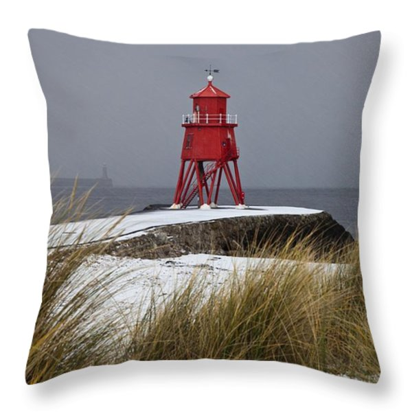 A Red Lighthouse Along The Coast South Throw Pillow by John Short