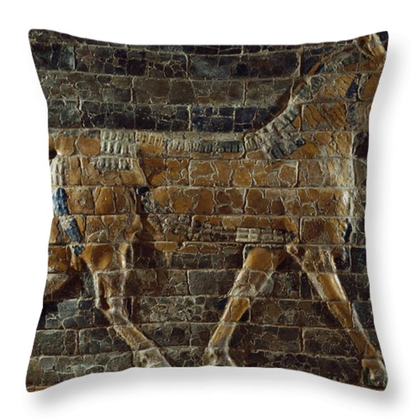 A Relief Depicts A Bull Throw Pillow by Lynn Abercrombie