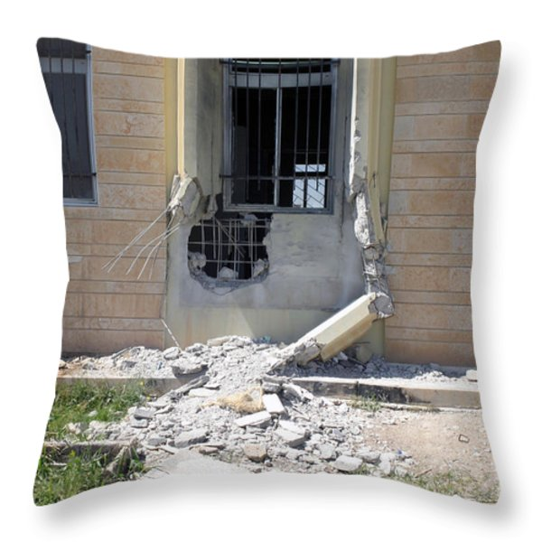 A Rocket Propelled Grenade Damaged This Throw Pillow by Stocktrek Images