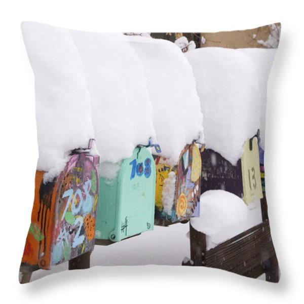 A Row Of Mailboxes In Winter Throw Pillow by Ralph Lee Hopkins