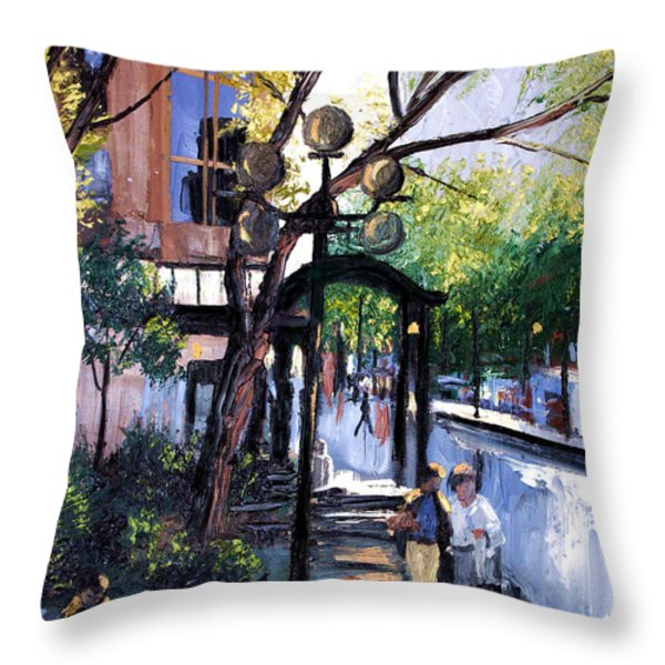 A Saturday Stroll  Throw Pillow by Anthony Falbo