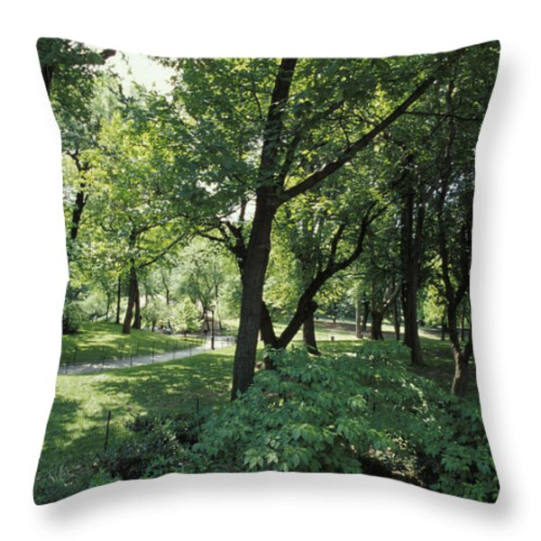 A Scenic And Shady Central Park Garden Throw Pillow by Jason Edwards