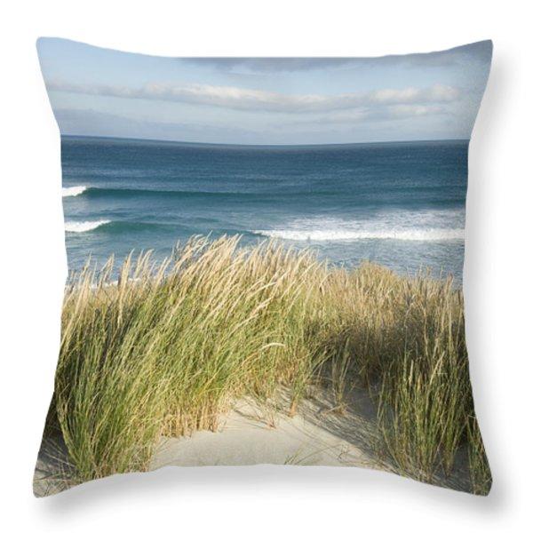 A Scenic Hillside Of The Beach Throw Pillow by Bill Hatcher