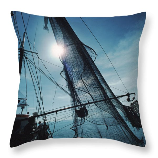A Shrimping Boat Off The Coast Throw Pillow by Ira Block