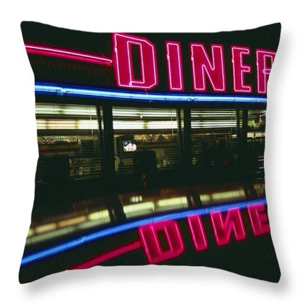 A Sign Relects Off A Car Roof Throw Pillow by Stephen St. John