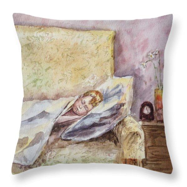 A Sleeping Toddler Throw Pillow by Irina Sztukowski