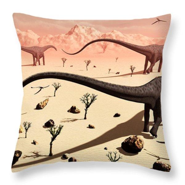 A Small Group Of Diplodocus Sauropod Throw Pillow by Mark Stevenson