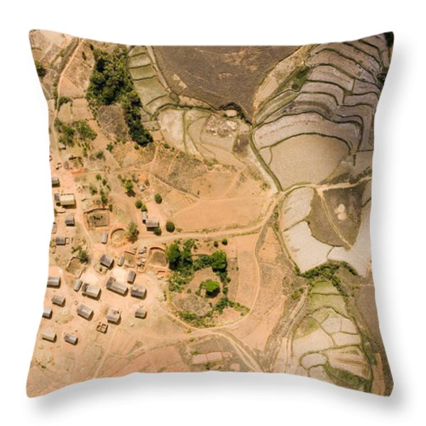 A Small Rice Village In The Central Throw Pillow by Michael Fay