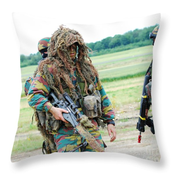 A Sniper Of The Belgian Army Together Throw Pillow by Luc De Jaeger