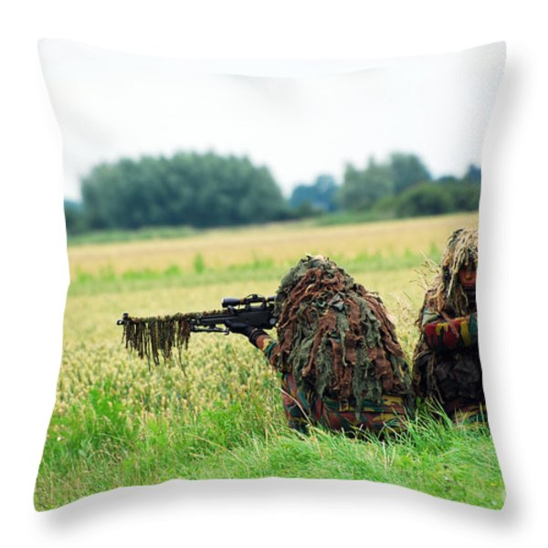 A Sniper Unit Of The Paracommandos Throw Pillow by Luc De Jaeger