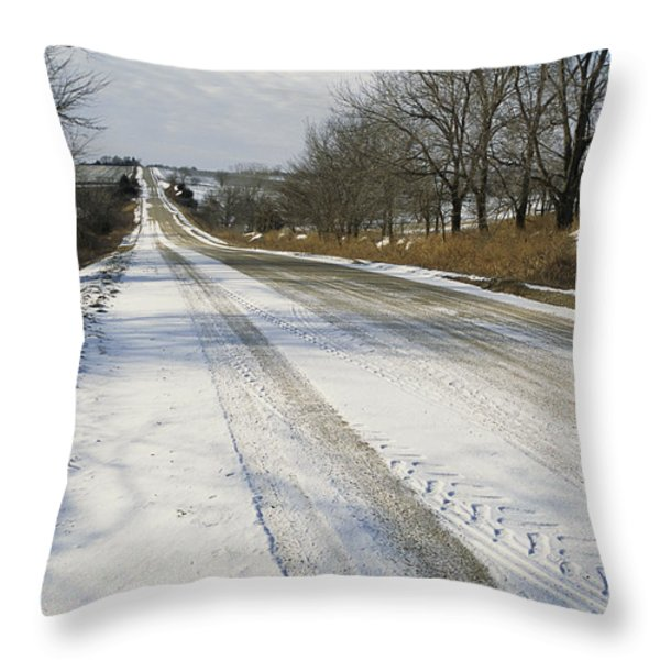 A Snow-covered Road Passes Throw Pillow by Joel Sartore