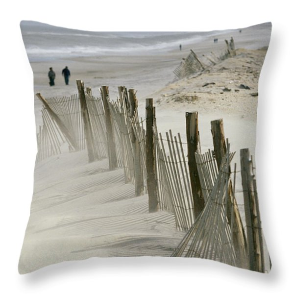 A Snow Fence Stretches Across A Dune Throw Pillow by Skip Brown