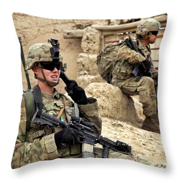 A Soldier Calls In Description Throw Pillow by Stocktrek Images