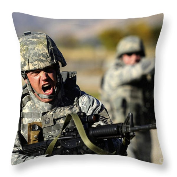A Soldier Shows His Emotions Throw Pillow by Stocktrek Images
