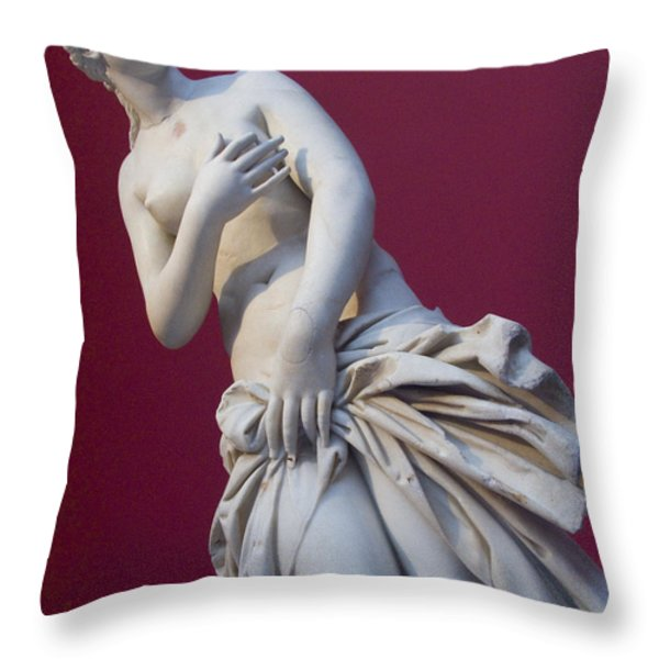 A Statue Of Aphrodite At The Acropolis Throw Pillow by Richard Nowitz