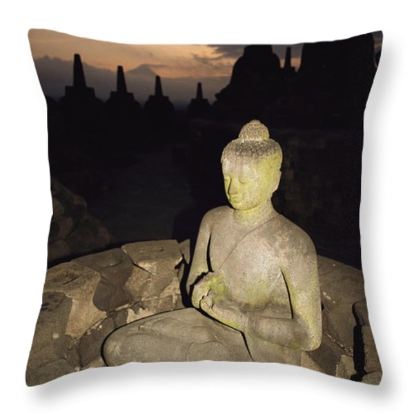 A Statue Of Buddha,  Borobudur, Java Throw Pillow by Paul Chesley