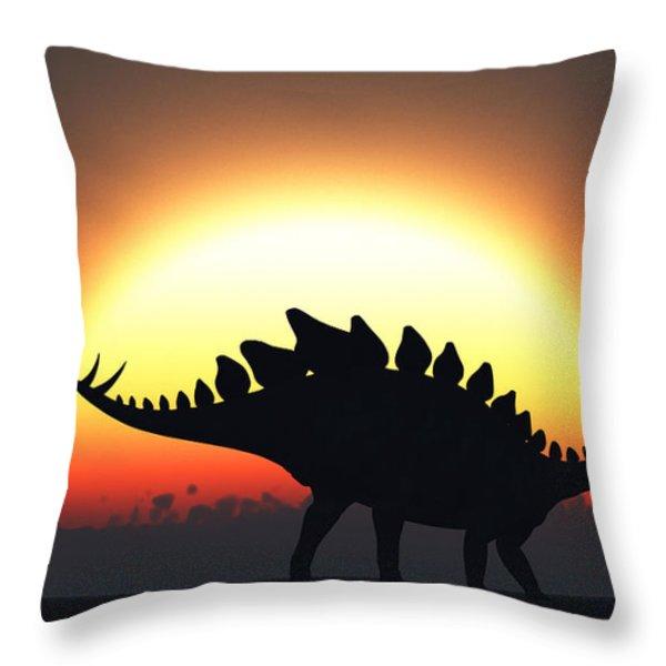 A Stegosaurus Silhouetted Throw Pillow by Mark Stevenson
