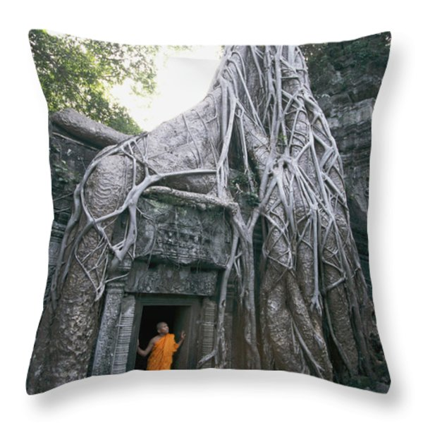 A Strangler Figs Gnarled Roots Creep Throw Pillow by Paul Chesley