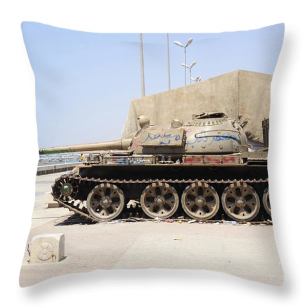 A T-55 Tank On The Seafront Throw Pillow by Andrew Chittock