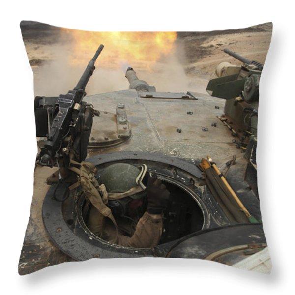 A Tank Crewman Braces Himself Throw Pillow by Stocktrek Images