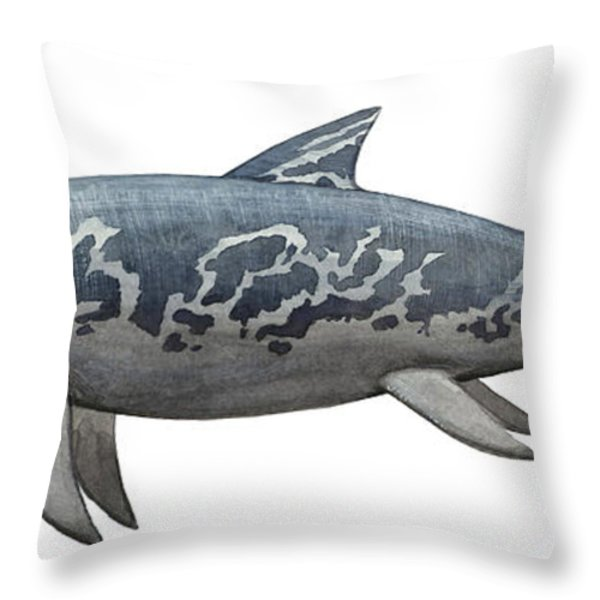 A Temnodontosaurus Burgundiae Throw Pillow by Sergey Krasovskiy