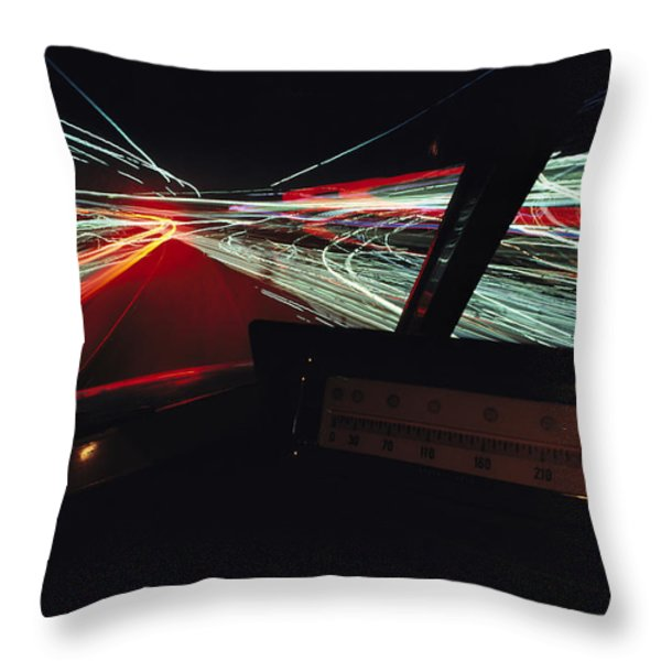 A Time Exposure Showing Streaks Throw Pillow by Paul Chesley