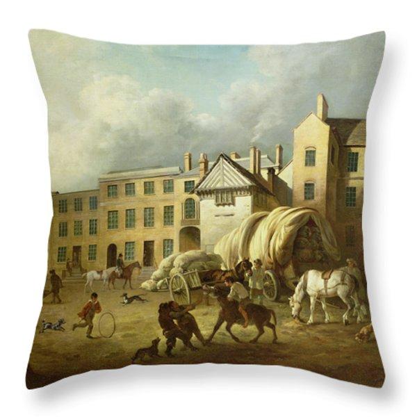 A Town Scene  Throw Pillow by George Garrard